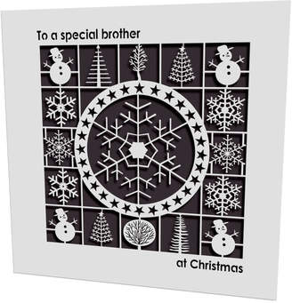 Pink Pineapple Home & Gifts Christmas Snowflake Laser Cut Brother Card