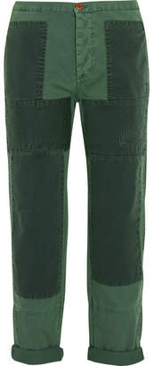 J.Crew Patchwork Cotton-twill Straight-leg Pants - Forest green