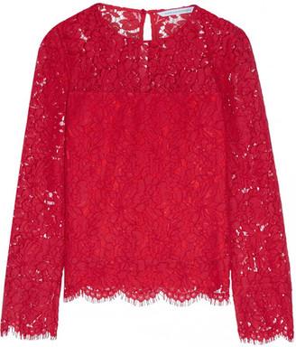 Diane von Furstenberg - Yeva Corded Lace Top - Red $350 thestylecure.com