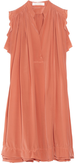 Chloé Gathered silk crepe de chine dress