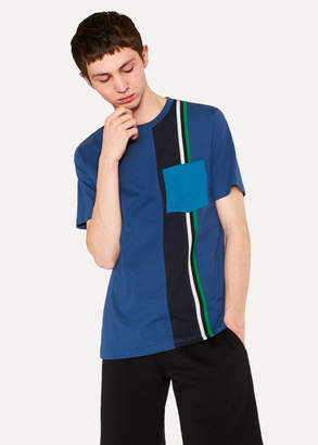Paul Smith Men's Navy Block-Stripe Pocket T-Shirt