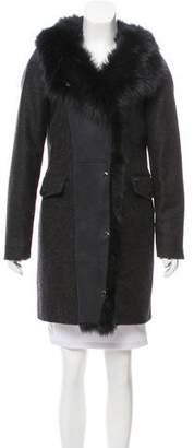Woolrich Shearling-Trimmed Wool Coat