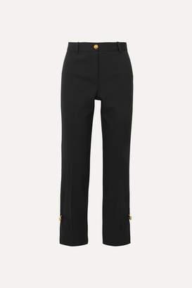 Versace Embellished Wool-blend Straight-leg Pants - Black