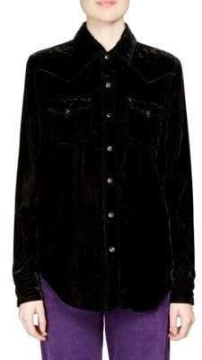 Saint Laurent Glitter Velvet Western Shirt