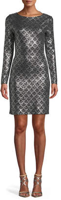 MICHAEL Michael Kors Long-Sleeve Cowl-Neck Sequin Dress