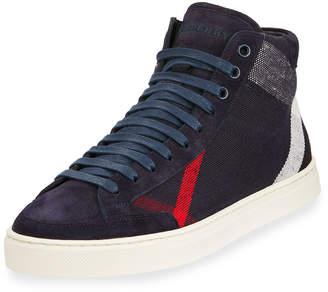Burberry Men's High-Top Canvas Sneakers