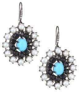 Holly Dyment Turquoise, White Pearl& Diamond Disc Earrings