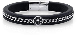 """He Rocks Black Leather and Cross Design Stainless Steel Chain Bracelet, 8.5"""""""