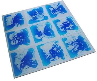 """Art3d Fancy Floor Tile For Kids Room Liquid Encased Floor Tile, 12"""" X 12"""" Blue (9 Tiles)"""