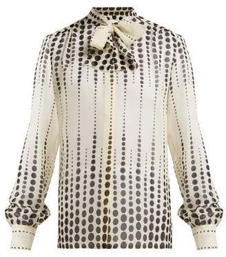 Giambattista Valli Polka Dot Pussy Bow Silk Blouse - Womens - White Black