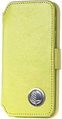 Drew Lennox - iPhone SE 5 5S Luxury English Leather Phone Wallet with 3 Card Slots in Lemon Lime Green