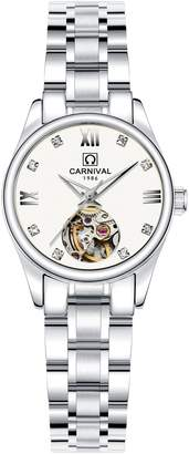 Carnival Women's Automatic Mechanical Analog Watch Simple Skeleton Dial Stainless Steel Band