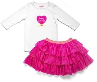 Only Girls Happy Birthday 3/4 Sleeved Top and Tiered Tutu Skirt 2pc Set