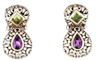 John Hardy Amethyst & Peridot Drop Earrings