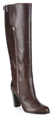 Sergio Rossi Almond Toe Stack Heel Leather Boots