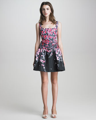 RED Valentino Square-Neck Drop-Waist Floral Dress