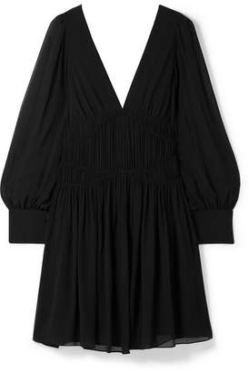 Stella McCartney Ruched Silk-crepe Mini Dress - Black