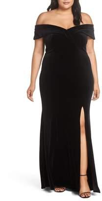 Xscape Evenings Off the Shoulder Velvet Gown