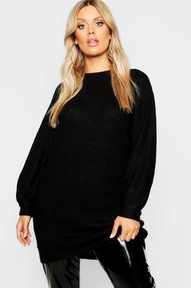 boohoo Plus Crew Neck Fisherman Rib Jumper