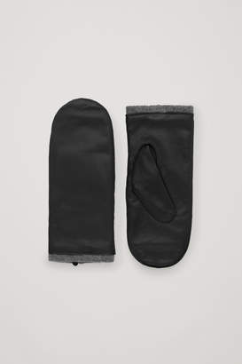 Cos CASHMERE-LINED LEATHER MITTENS