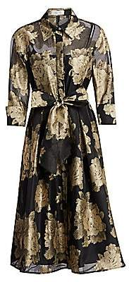 Teri Jon by Rickie Freeman Women's Metallic Floral Tie Shirtdress