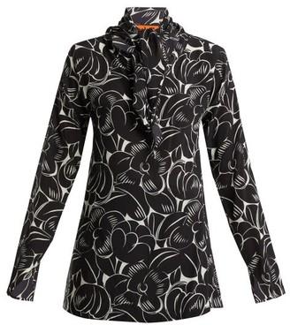 Colville - Neck Tie Silk Blouse - Womens - Black Print