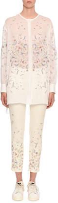 Ermanno Scervino Floral Semisheer Button-Front Cardigan