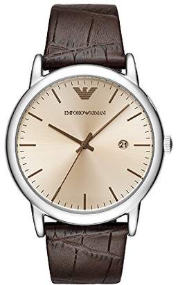 Emporio Armani Men's 'Dress' Quartz Stainless Steel and Leather Casual Watch
