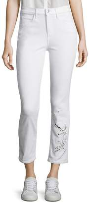Peserico Women's Sally Salamander Cutout Cropped Straight-Leg Jeans - White, Size 29 (6-8)