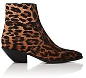 Saint Laurent Women's Leopard-Print Calf Hair Ankle Boots - Brown
