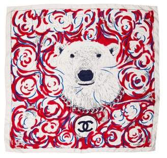 Chanel Silk Polar Bear Scarf