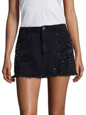 Free People Shine Bright Shine Far Embroidered Denim Mini Skirt