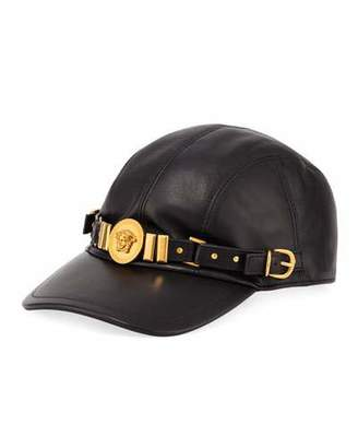 Versace Leather Baseball Cap with Medusa Medalion