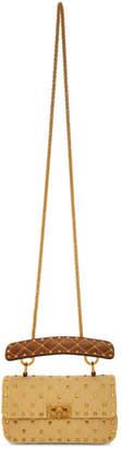 Valentino Beige Garavani Medium Raffia Rockstud Spike Bag