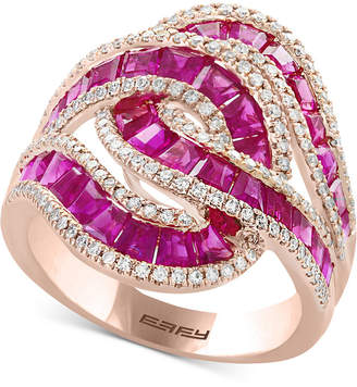 Effy Amore Sapphire (3-1/2 ct. t.w.) & Diamond (1/2 ct. t.w.) Ring in 14k White Gold (Also Available in Certified Ruby)