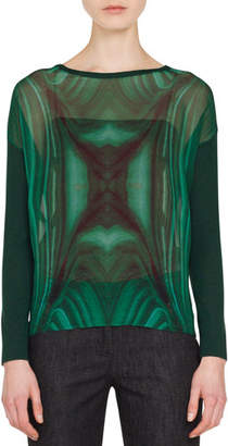 Akris Boat-Neck Long-Sleeve Malachite-Print Cashmere-Silk Blouse