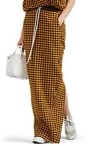 Rick Owens Women's Plaid Alpaca-Wool Drawstring Skirt - Yellow Brown