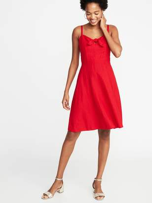 Old Navy Fit & Flare Tie-Front Linen-Blend Cami Dress for Women