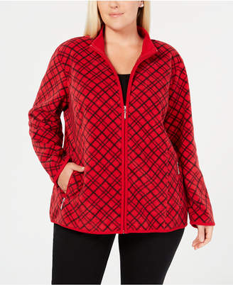 Karen Scott Plus Size Plaid Zip-Front Casual Jacket, Created for Macy's