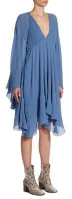 Chloé Deep V-Neck Crinkle Crepon Fit-&-Flare Dress