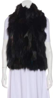 Barneys New York Barney's New York Scoop Neck Fur Vest