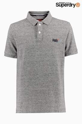 Next Mens Superdry Grey Classic Pique Poloshirt