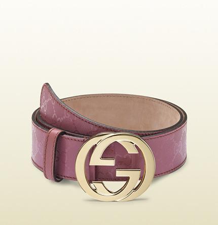 Gucci dark pink gg imprimée belt with interlocking G buckle