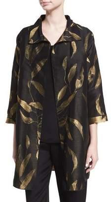 Caroline Rose Gold Leaf Jacquard Party Jacket, Petite
