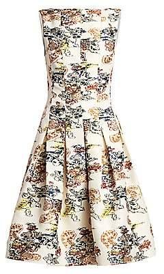 Oscar de la Renta Women's Floral-Print Seam Box Pleat A-Line Dress