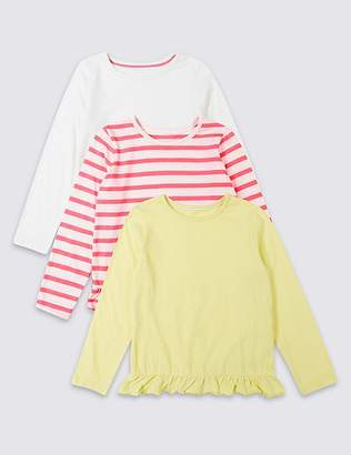 Marks and Spencer 3 Pack Frill Hem Tops (3 Months - 7 Years)