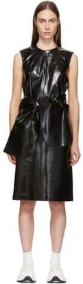 MSGM Black Vinyl Bow Dress
