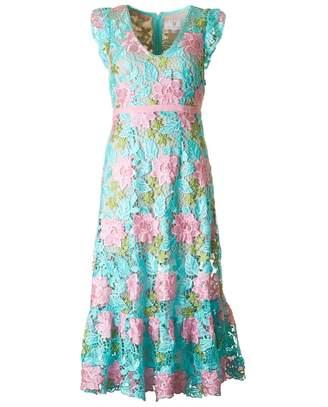 Forever Unique Applique Floral Dress Colour: AQUA, Size: 8