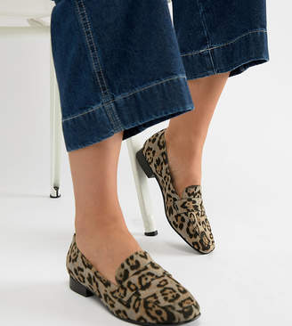 Asos DESIGN Wide Fit Milestone loafer flat shoes in leopard
