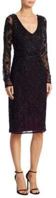 Theia Long-Sleeve Beaded Dress